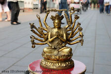 Tibet Buddhism Pure Brass eighteen Arm Hands Avalokitesvara Kwan-Yin goddess