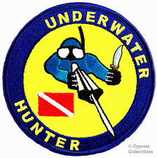 UNDERWATER HUNTER DIVE PATCH spearfishing SCUBA DIVING embroidered IRON-ON