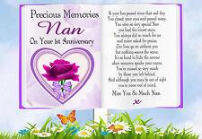 NAN 1ST ANNIVERSARY BOOK SHAPED MEMORIAL  GRAVESIDE  CARD & FREE HOLDER