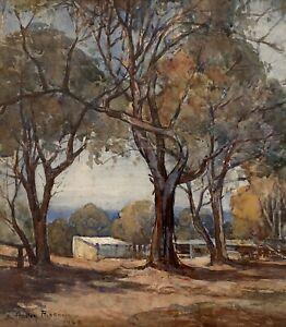 "Original Watercolour By Anne Hedley Parsons (Australian 1870-1960) ""Cow Sheds"""
