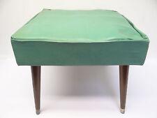 Vintage Used Modern Turquoise Color Wood Leg 1960s Footstool Stool Ottoman