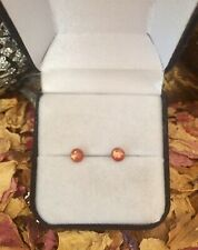 Glittering natural Sunstone 5mm round cabochon sterling silver stud earrings 🌞