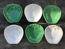 6 Vintage Made in Calif USA Pottery Ceramic Green White Apple Shaped Bowls #813