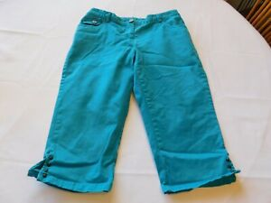 Hearts of Palm Women's Junior's Capri Pants Size 6P petite Aqua Turquoise GUC