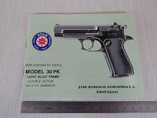 USER MANUAL STAR PISTOL 30 PK 9mm parabellum MANUALE USO MANUTENZIONE PISTOLA