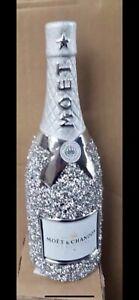 CRUSHED DIAMOND SILVER CRYSTAL CERAMIC BOTTLE, SHELF SITTER