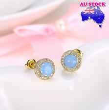 Wholesale Elegant 18K Gold Filled GF Blue Opal Zircon Crystal Stud Earrings
