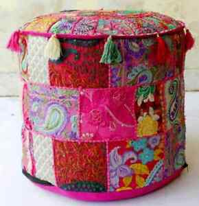 """Pink Ottoman Pouf 18x18"""" Vintage Handmade Indian Patchwork Footstool Seat Covers"""