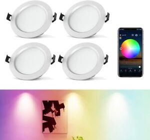 4x LED Einbaustrahler Bluetooth RGB+warmweiβ+kaltweiβ Einbauleuchten Decken Spot