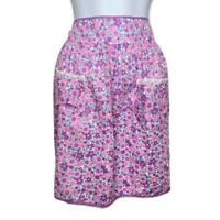 Vintage Half Waist Apron Purple & Pink Flower Power Lace Trim Pockets Floral Tie