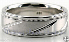 Satin Shiny Finish Pattern Carved Ring 6mm 10K White Gold Mens Wedding Band Man