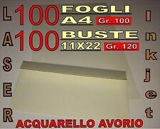 100 FOGLI A4 + BUSTE 11x22 120GR ACQUARELLO AVORIO x STAMPANTE PARTECIPAZIONI