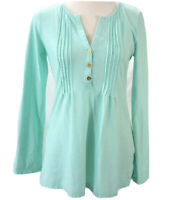 Lilly Pulitzer Womens Dorothy Aqua Tunic Top V Neck Gold Buttons Sz Small