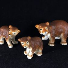 Bone China Miniature Grizzly Brown Bear Mother And Cubs Family Figurines Japan