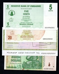 Zimbabwe Banknotes x 4 Issued in 2003, 2006 and 2008. 3 Different Issue Types.