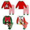 2Pcs Kids Xmas Sleepwear Mickey Pajamas Boy Girl Christmas Nightwear Ouftfit Set
