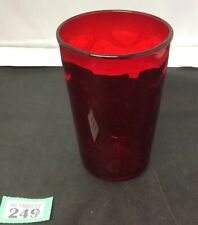 "Retro Handblown Textured Red Glass Vase 5.7"" Tall 4"" D. Dimpled Art Glass Vase"