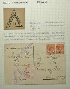 MALAYA 6 MAY 1941 CENSORED POSTCARD FROM PENANG TO MEDAN, DUTCH EAST INDIES