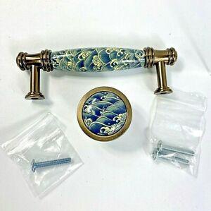 Set Ceramic Knob Handle Drawer Dresser Hardware Blues and Cream
