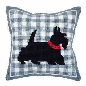 "Chunky Cross Stitch Cushion Front Kit  ""Scotty Dog""  40x40cm Printed canvas"