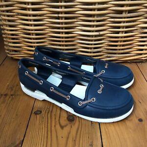 Womens Croc Pumps Flats W 9 UK 7 Deck Boat Shoes Blue White Slip On Rubber