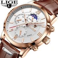 Men's Watch LIGE Leather Chronograph Water Resistant Luxury Date Quartz