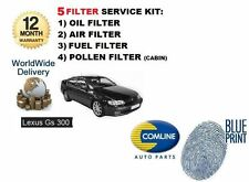 FOR LEXUS GS300 3.0 1993-12/1997 OIL AIR FUEL POLLEN ( 5 ) FILTER SERVICE KIT
