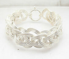 Bold Textured Triple Woven Braided Link Chain Bracelet Real 925 Sterling Silver