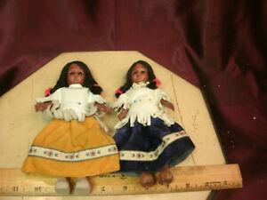 "2 Indian Princess Vintage Souvenir 7""T Dolls w/Sleep Eyes & swivel head-FreeShip"