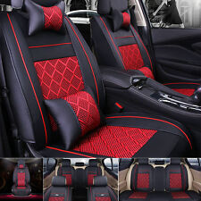 Universal PU Leather+Cooling Mesh Seat Covers US 5 Seats Car Front&Rear Pillows