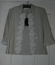 St John Evening Jacket Light Gray Lace Beading Rhinestones Size 6 NWT $2245