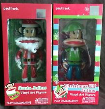 PAUL FRANK SANTA JULIUS & CHRISTMAS ELF JULIUS PAIR OF FIGURINES - NEW & BOXED