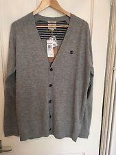 BNWT Timberland Mens Cardigan Grey Merino Wool RRP £105