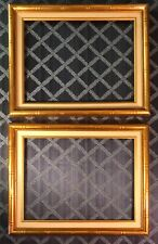 "PAIR Faux Bamboo Gilt Wood & Linen Picture Frames 19.5 x 15.5~16"" x 12"" opening"