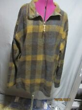 St. Johns Bay men's XLT brown/yellow/blue checkered flannel pull-over jacket