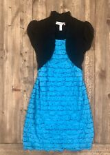 Girls Dress Size 7 Blue With Sparkle Accents & A Black Attached Shawl