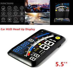Latest 5.5'' OBII Car HUD Head Up Display Digital Speeding   System Guage