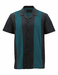 Men's Vintage Casual Two Tone Button Down Classic Retro Guayabera Bowling Shirt