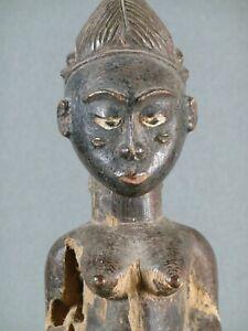Baule Female Blolo Bian Colonial Figure Ivory Coast 12 inches Antique