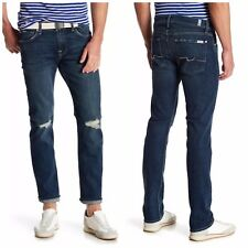 7 For All Mankind Slimmy Slim Straight Leg Jeans Norwood Destroyed Sz 32 NEW