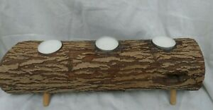 Large Rustic Log Candle Holder Centerpiece - Country Wood Candle Holder