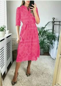 Jacques vert Broderie Lace belted midi dress RRP£199