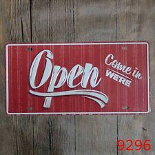 Metal Tin Sign open come in Decor Bar Pub Home Vintage Retro Poster Cafe