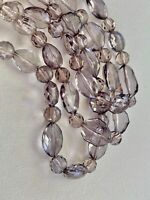 Banana Republic BR clear and smoky faceted lucite bead triple strand necklace