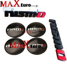 6pcs Sets nismo Sport Logo Front Grille Emblem +Rear Badge+Wheel Hub Caps black