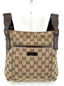 GUCCI GG Canvas Leather 122793 Shoulder Cross Body Bag Dark Brown Beige