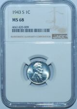 1943 S NGC MS68 Lincoln Wheat Cent Tied For Finest Registry