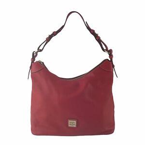 Dooney & Bourke Red Leather Hobo Sling Shoulder Bag Medium Size Pre-Owned
