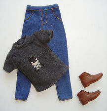 Barbie/ Ken Doll Clothes/Fashions Dark Grey Tee Shirt/Jeans/Ankle Boots New!