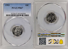 1953 PCGS PR67 UNCIRCULATED SILVER ROOSEVELT DIME COIN ! EXCELLENT GRADE !